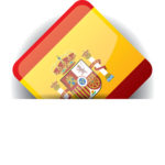 Glossy icon with Flag of Spain in white pocket